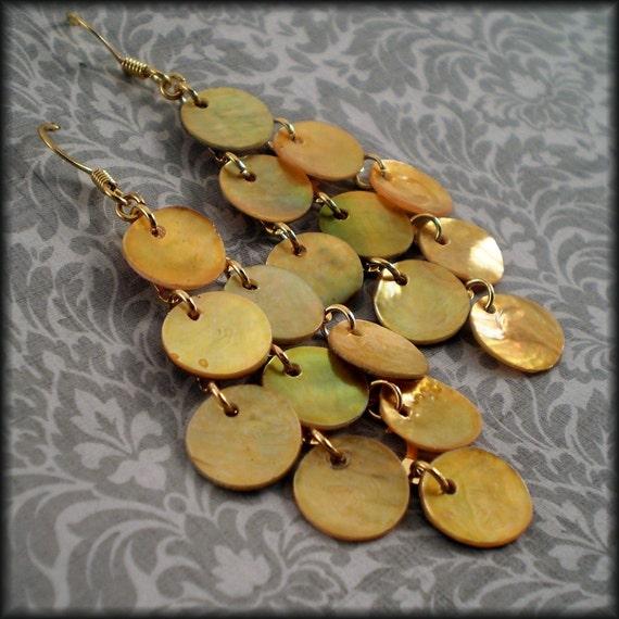 Gold Coin Mussel Shell Chandelier Earrings