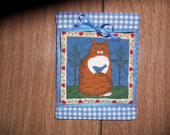 Quilted Cat Wall Hanging Country Style Design
