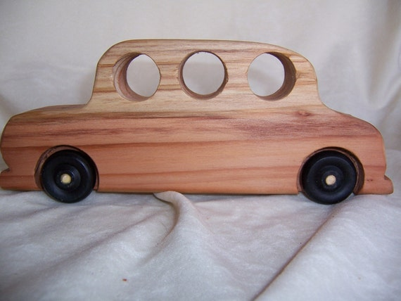 Toy 1930's Sedan Car Made of Recycled Wood for Children, Kids, Boys and Girls