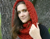 Pick Your Color/ Knox County Cowl Cranberry Red Reversible Vegan Scarf with Big Wood Ellipse Button and Acrylic Yarn - MakingsofShannaTice