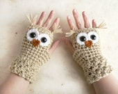 Crochet Owl Fingerless Gloves Wrist Warmers with Brown Safety Eyes and Beige-Wheat Acrylic Yarn in Choice of Woman's Sizes