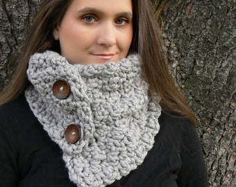 Pick Your color Aroostook County Cowl Scarflette with Super Chunky Ash Gray Yarn and Dark Brown Pattern Buttons: