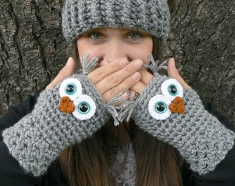 Crochet Owl Fingerless Gloves Wrist Warmers with Aqua Safety Eyes and Soft Ash Gray Acrylic Yarn Size Woman's Regular OR Large