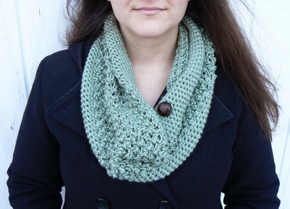 Pick Your Color/ Penobscot County Cowl with Tree Sprig Green Acrylic Yarn and Brown Button