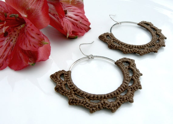 Crocheted Gothic Arches on Hoops with Soft Chocolate Brown Cotton Thread