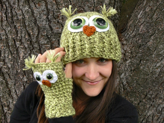 Adult Owl Hat with Green Safety Eyes and Crocheted with Multi-Toned Green Acrylic Yarn Woman's Regular OR Large