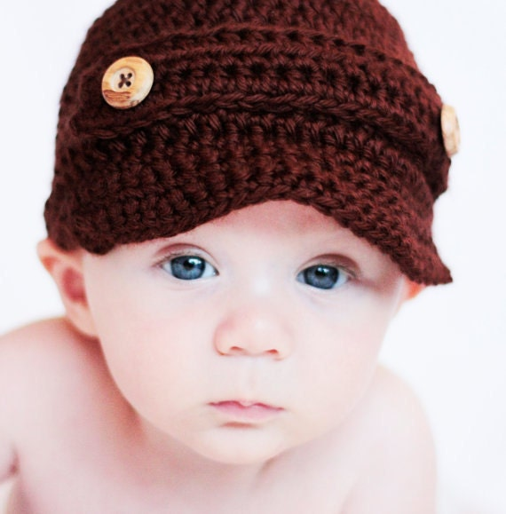 Baby Newsboy Hat Crochet Pattern Sizes newborn & by PetitLambie