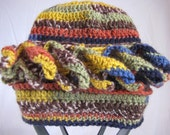 teen crazy hat, 10 to adult, spikes, multicolored, blues, green, mustard yellow, brick red, brown, photo prop