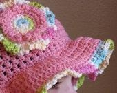 crochet floppy rose sunhat, 10 to adult, girls sun hat, flower sunhat, brimmed hat, beach hat, pink