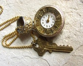 Steampunk Vintage Time Piece Assemblage of Found Objects With Ornate Ring and Brass Key
