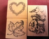 Summer and Fall Set of 3 Rubber Stamps