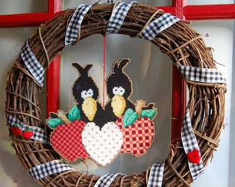 Hearts and Apples Crow Wreath