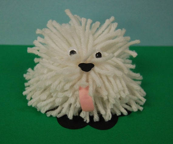 Items similar to clearance shaggy yarn dog craft kit on for Pom pom puppy craft