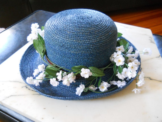 hat: ITALIAN VINTAGE STRAW  in blue by Filippo Catarzi Florence Italy 1960s