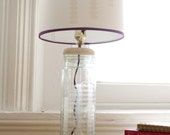 Upcycled Etched Tall Jar Lamp with Embellished Lamp Shade