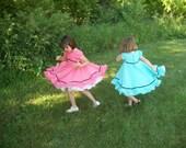 Pink and blue chiffon dresses