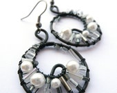 White Smoke Cluster Wire Wrapped Earrings