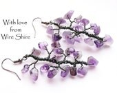 Fall Collection: Amethyst Tree Branch Wire Wrapped Earrings