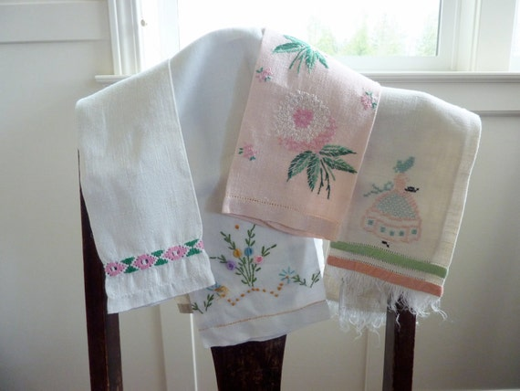 Linen Towels, pink and white, set of four