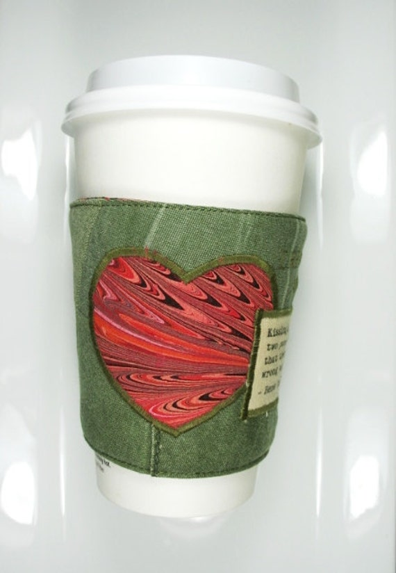 Heart Coffee Cozy - Kissing Quote