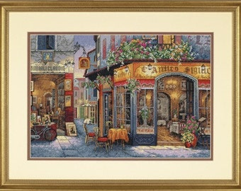 Cross Stitch Kit - EUROPEAN BISTRO - Dimensions Gold Counted Cross Stitch Needlework Kit Trattoria Cross Stitch Bistro Dimensions Kit