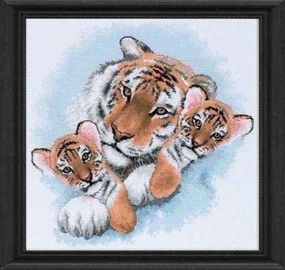 Cross Stitch Kit - Siberian Snuggle - Dimensions Tiger and Cubs Counted Cross Stitch Needlework Kit Dimensions Kit - Cross Stitch Tiger