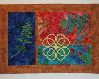 Art Quilt - Green Fern Wall Hanging Quiltsy Handmade