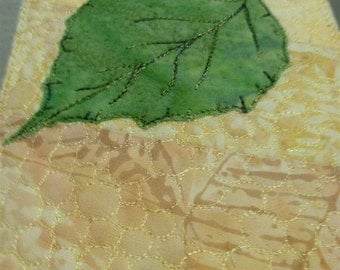 All Occasion Fabric Postcard with Birch Leaf - Set of Two Quiltsy Handmade
