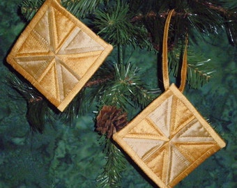 Gold Silk Dupioni Quilted Pinwheel Tree Ornaments Quiltsy Handmade