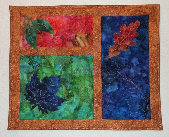 Art Quilt - Blue Leaf Wall Hanging