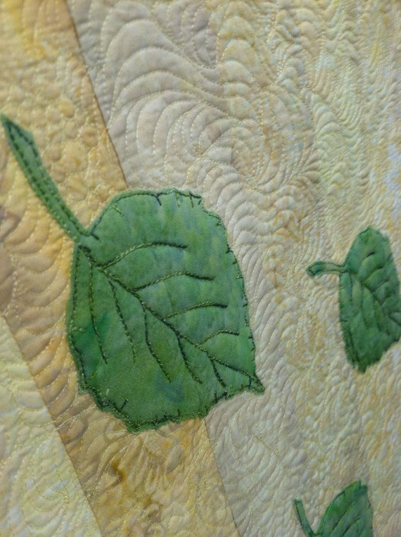 Table Runner Quilted Birch Leaves