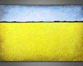 SALE - Abstract Landscape Painting - Yellow and Blue/Grey 24 X 36 Modern Art Painting on Canvas
