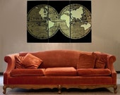 Distressed Black/Gold OLD WORLD MAP hand pulled large screen print set of 3