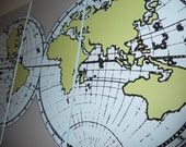 Custom order- mustard yellow grey and blue old world map