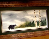 Wandering Black Bear on a snowy day (Framed) 8x16