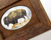 Buffalo painting in a rustic barnwood frame for his Valentine
