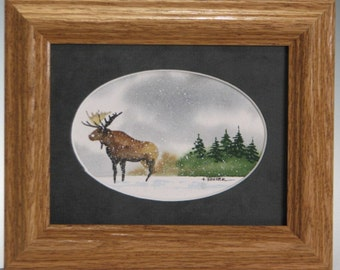 Holiday Home Decor...Strolling Brown Minnesota Moose 5x6 ( framed)