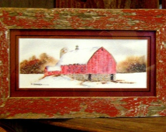 Rustic Red barn print (Framed) 4x8