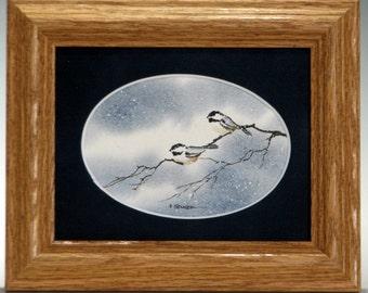Lovebird Little Gray Chickadees watercolor art (Framed)  5x6