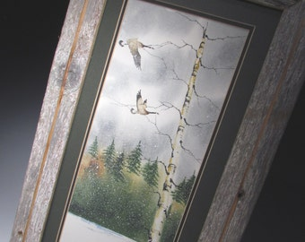 Watercolor Painting of Canadian Geese flying through the forest (Framed) 8x16