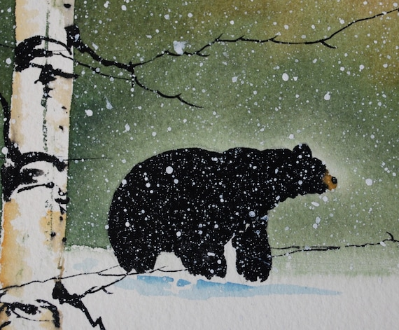 One of a kind water color painting of a black bear in a birch tree forest