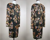 80s dress / Vintage  Black Silk and Sequin Party Dress / Trophy / The Tiger Lily