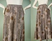 Vintage 1970s Boho Skirt / Maxi Skirt / Metallic Gold Silver Lurex / Flowy / Floral Print / Stripe