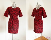 Mad Men Dress / 50s Dress / 60s Dress / Red Rose Dress / Vintage Wiggle Dress / Rockabilly Dress / Bombshell / Medium - Large