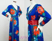 1970s Maxi Dress / Vintage 70s Dress / Boho Dress / Long Dress / Floral Print / Border Print / Festival Dress / Poppy Orange and Royal Blue