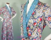 Vintage Robe / 40s Robe / Paisley Housecoat / Satin Loungewear / L XL