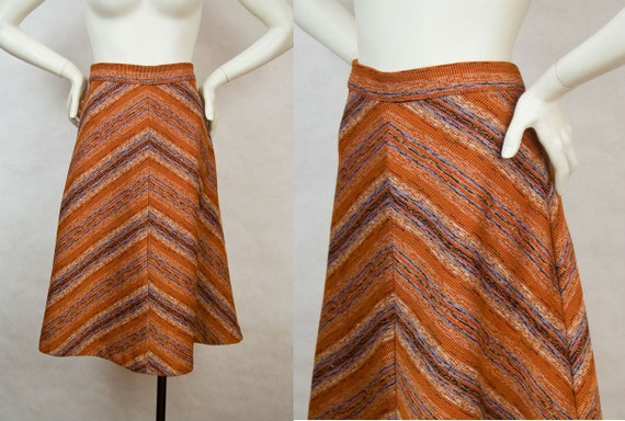 Vintage 1970s Skirt  / Space Dye / Chevron / Inverted V / Navajo Stripe / M