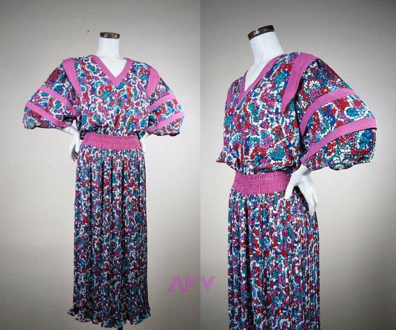 Vintage Diane Freis Dress - 80s Dress - Boho Gypsy Dress - Graphic Abstract Polka Dot Print