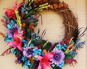 Modern Full of Blooms Lily Daisy and Geranium Fragrant Modern Wreath