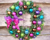 Sugar and Spice and Everything Nice Colorful Ball Ornament Ribbon and Bow Garland Chrismas Wreath